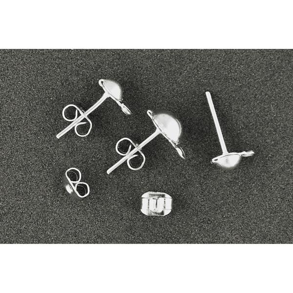 Ohrstecker Silber mit Halbkugel, 12 Stück