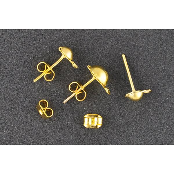 Ohrstecker Gold mit Halbkugel, 12 Stück