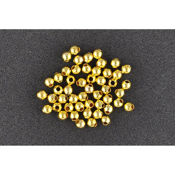 Quetschperlen rund gold 1,5 mm, 60 Stück