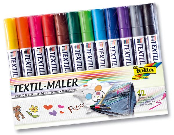 Textil-Maler, 12 Farben im Set