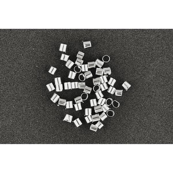 Quetschperlen flach silber 1,5 mm, 60 Stück