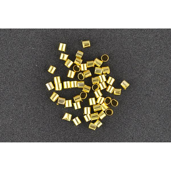 Quetschperlen flach gold 1,5 mm, 60 Stück