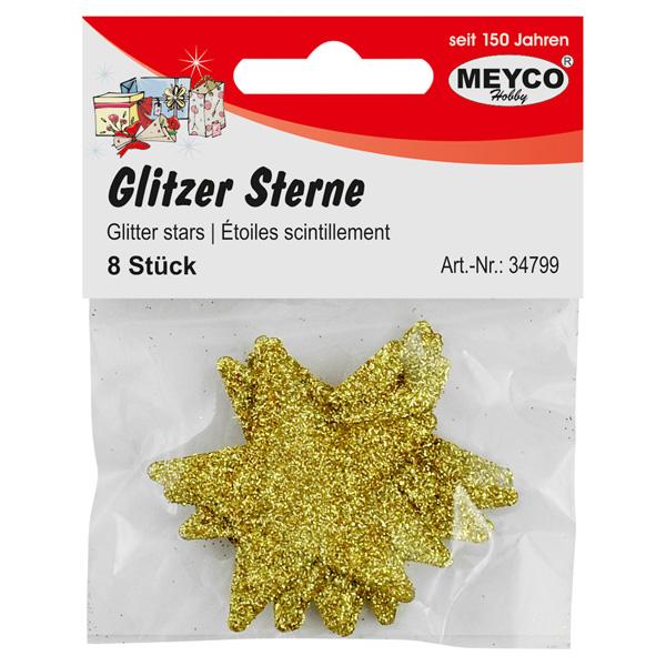 Glitzer-Sterne gold, 8 Stück