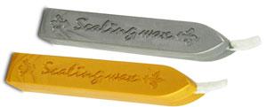 Siegelwachs, 2 Stück, gold und silber