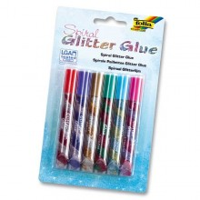 "Spiral Glitter-Glue Stifte ""Normal"", 6er Pack"